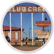 Route 66 - Santa Rosa New Mexico Round Beach Towel