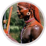 Samburu Warrior Round Beach Towel