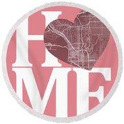 San Diego Street Map Home Heart - San Diego California Road Map  Round Beach Towel