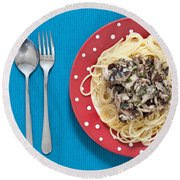 Sardines And Spaghetti Round Beach Towel