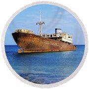 Shipwreck On Lanzarote Round Beach Towel