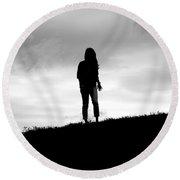 Silhouette Of Girl Against Overcast Sky Round Beach Towel