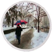 Snowfall In Central Park Round Beach Towel by Deborah Boyd