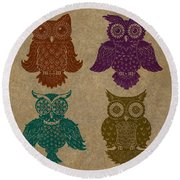 4 Sophisticated Owls Colored Round Beach Towel