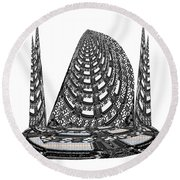 Sparkle Bnw White Pyramid Dome Ancient Arch Architecture Formation Obtained During Deep Meditation W Round Beach Towel