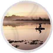 Sunrise In Fog Lake Cassidy With Fishermen In Small Fishing Boat Round Beach Towel
