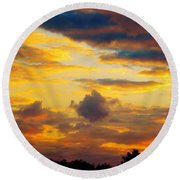 Sunset Sky By Artist Nature Round Beach Towel