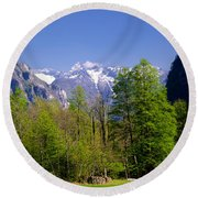 Swiss Alps Round Beach Towel