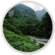 Taiwan Tropical Mountainscape Round Beach Towel