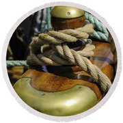 Tall Ship Rigging Vertical Round Beach Towel