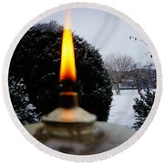 The Candle In The Snow Round Beach Towel