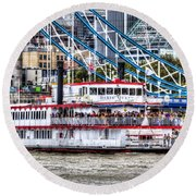 The Dixie Queen Paddle Steamer Round Beach Towel