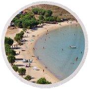 The Famous Psili Ammos Beach Round Beach Towel