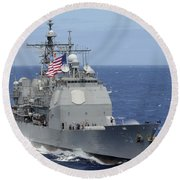 The Guided-missile Cruiser Uss Round Beach Towel