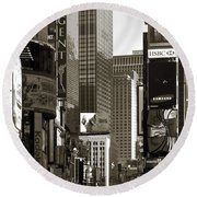 Times Square Round Beach Towel