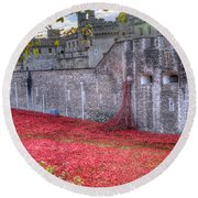 Tower Of London Poppies Round Beach Towel