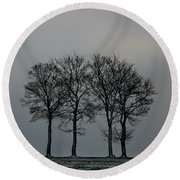 4 Trees In A Winters Landscape Round Beach Towel