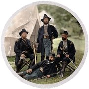 4 Union Officers Of The 4th Pennsylvania Cavalry Round Beach Towel