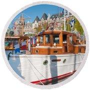 Victoria Wooden Boat Show Round Beach Towel