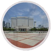 View From Peoples Park, Shanghai Round Beach Towel