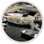 View Of Boats At A Harbor, Rockland Round Beach Towel