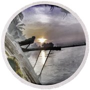 View Of Sunrise From Boat Round Beach Towel