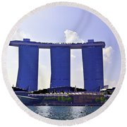View Of The Towers Of The Marina Bay Sands In Singapore Round Beach Towel