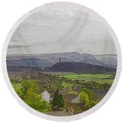 View Of Wallace Monument And Surrounding Areas Round Beach Towel