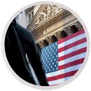 Wall Street Flag Round Beach Towel