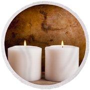 White Candles Round Beach Towel
