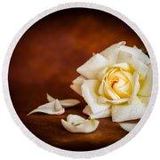 White Rose Round Beach Towel