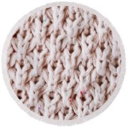 White Wool Round Beach Towel