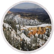 Winter Scene, Bryce Canyon National Park Round Beach Towel