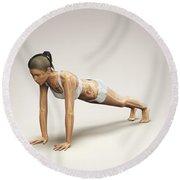 Yoga Plank Pose Round Beach Towel