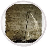 40 Sailboat - With Open Wings In A Grunge Background  Round Beach Towel