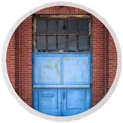 401 Blue Factory Door Round Beach Towel