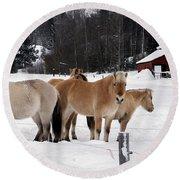 40104-5 Norwegian Horses Round Beach Towel