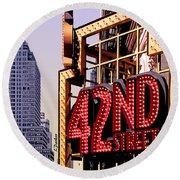 42nd Street New York City Round Beach Towel