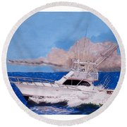 Storm Chasing On The High Seas Round Beach Towel