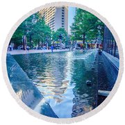 Skyline And City Streets Of Charlotte North Carolina Usa Round Beach Towel