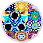 432hz Cymatics Grid Round Beach Towel