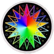 432hz Rainbow Star Round Beach Towel