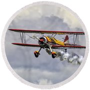 450 Hp Stearman Round Beach Towel