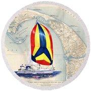 39 Foot Beneteau Cape Cod Chart Art Round Beach Towel