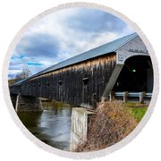 460 Foot Long New Hampshire Covered Bridge Round Beach Towel