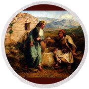 Greek Shepherd And Maiden By A Well Round Beach Towel