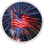 4th Of July Round Beach Towel
