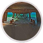 4x1 Under Fishing Pier Round Beach Towel