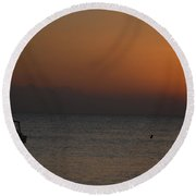 Boat At Rest Sun Setting Round Beach Towel