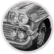 1958 Chevrolet Bel Air Impala Painted Bw  Round Beach Towel